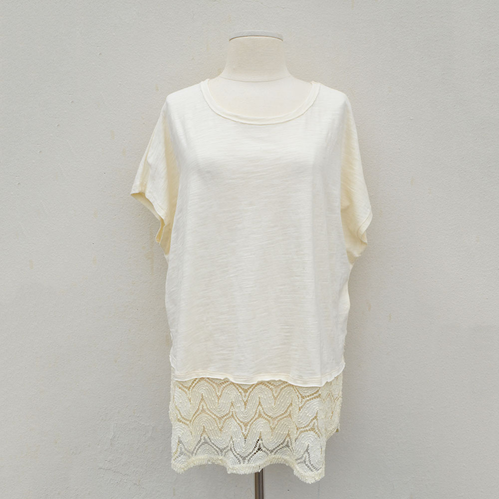 cream short sleeve high low slub knit top with crochet border