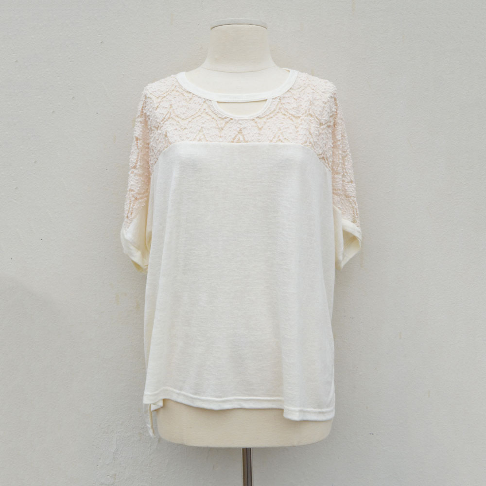 cream crochet yoke short sleeve knit top
