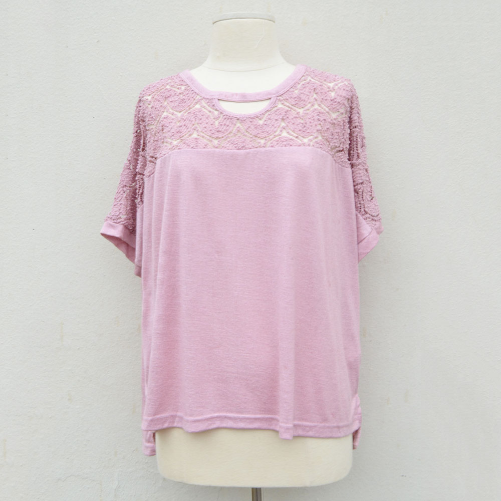 mauve crochet yoke short sleeve knit top