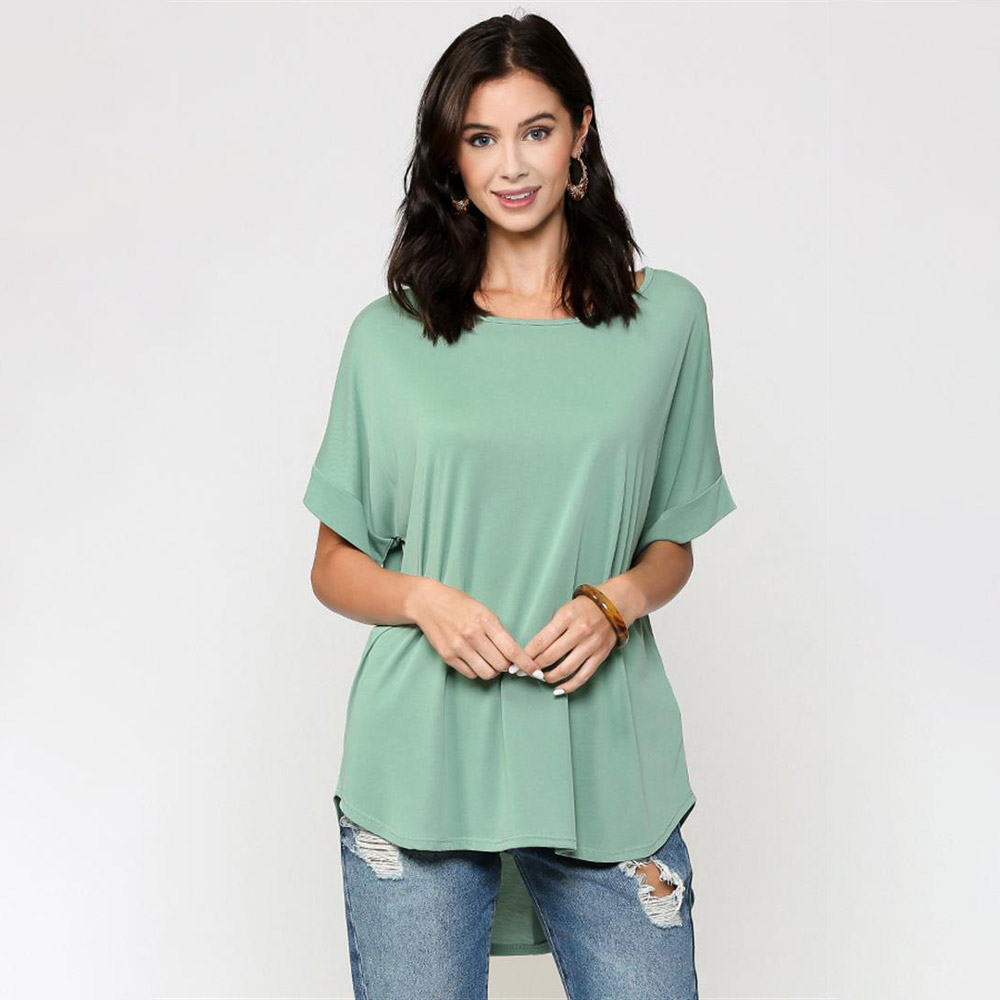 sage cupro-back button detain hi-low top with elbow sleeves
