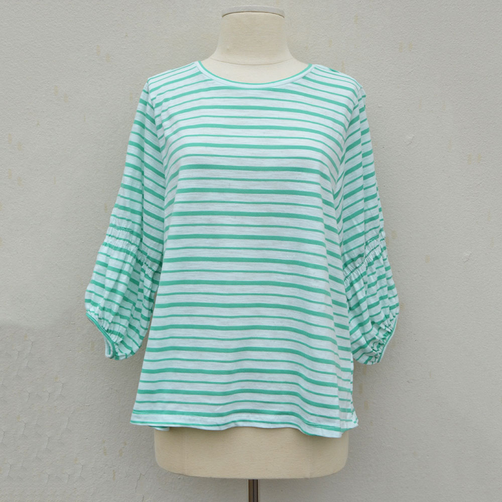 striped 3/4 balloon sleeve round neck top green