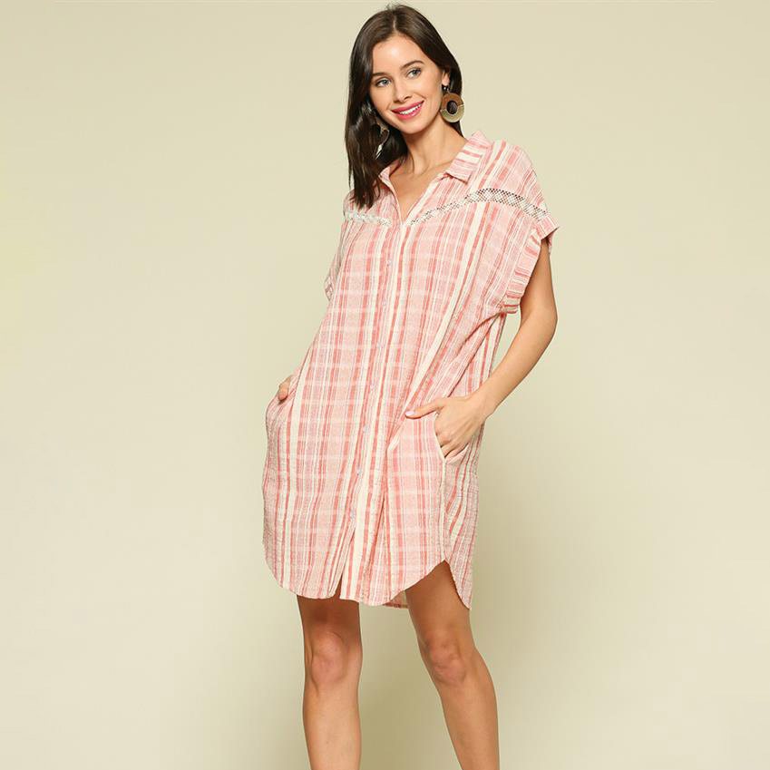 red/ivory striped button up shirt dress with lace trim