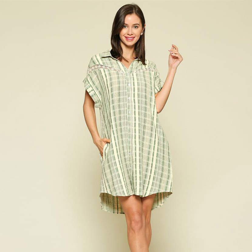 sage/ivory striped button up shirt dress with lace trim