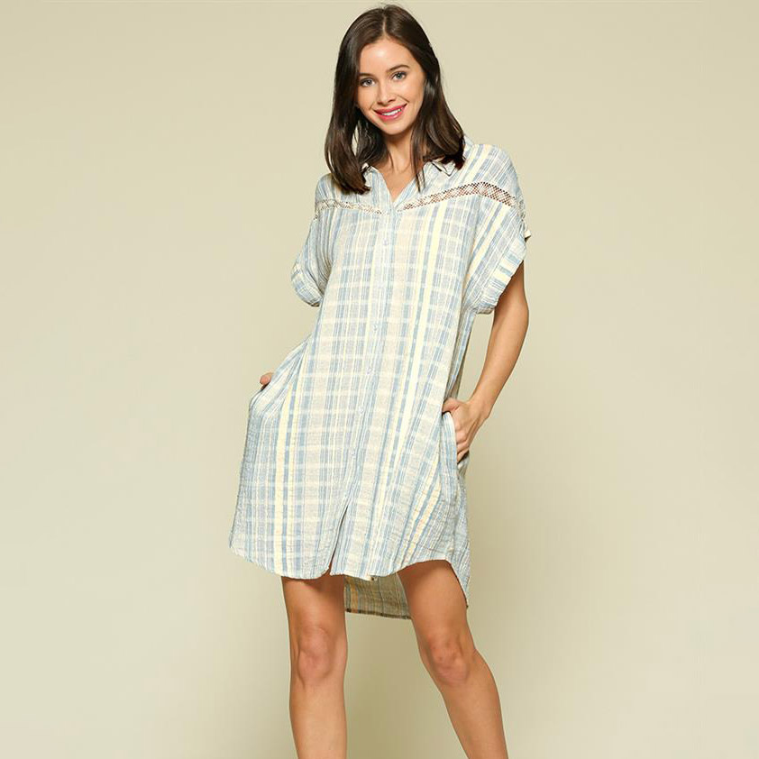 sky blue/ivory striped button up shirt dress with lace trim