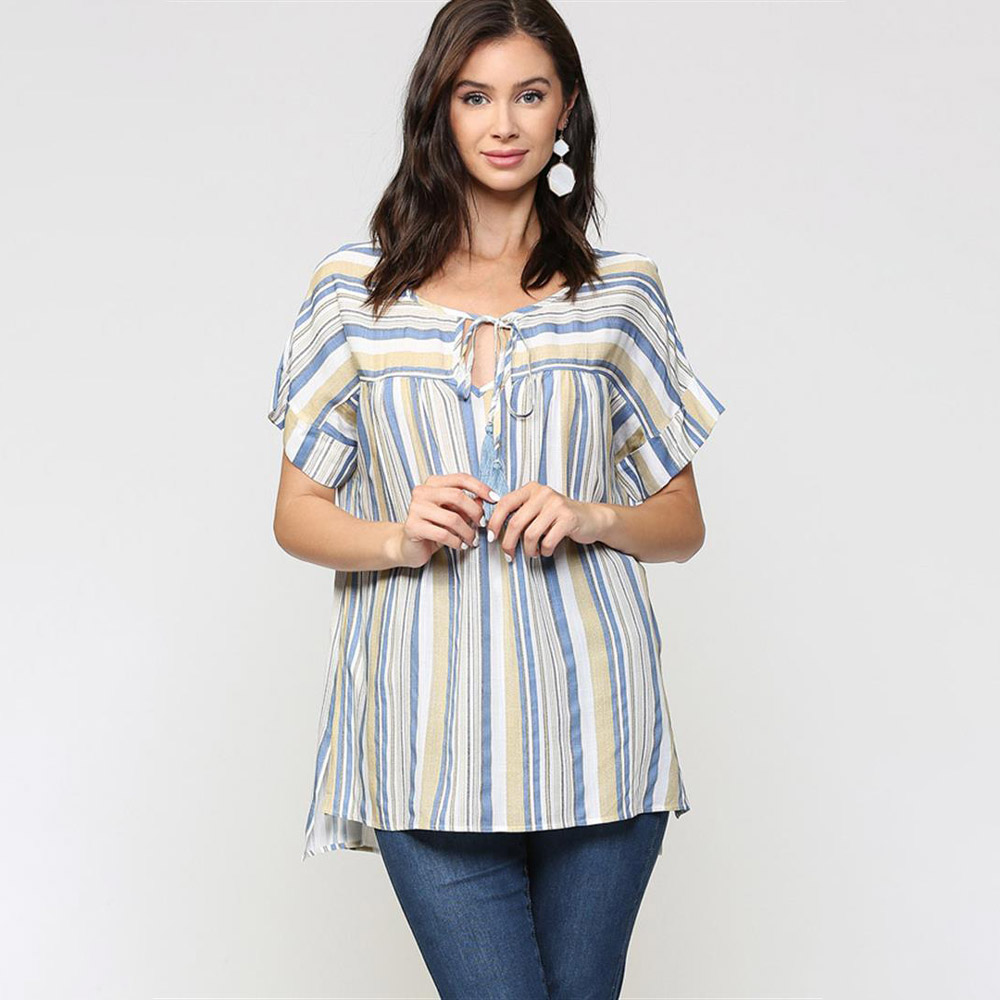mustard striped peasant top with tassel trim