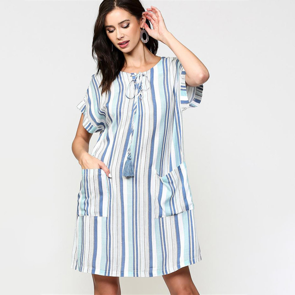 dusty mint striped lace up shift dress with front pockets