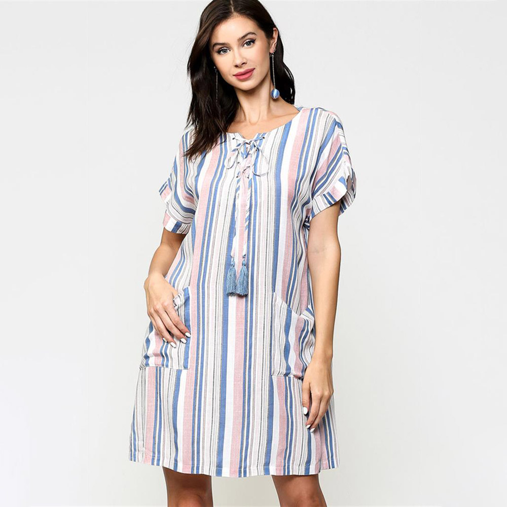 light mauve striped lace up shift dress with front pockets