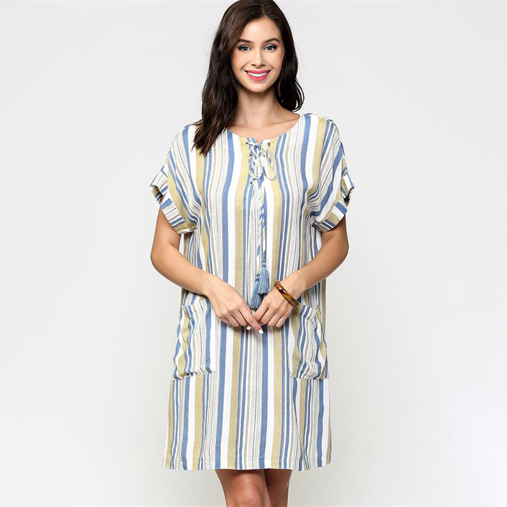 mustard striped lace up shift dress with front pockets