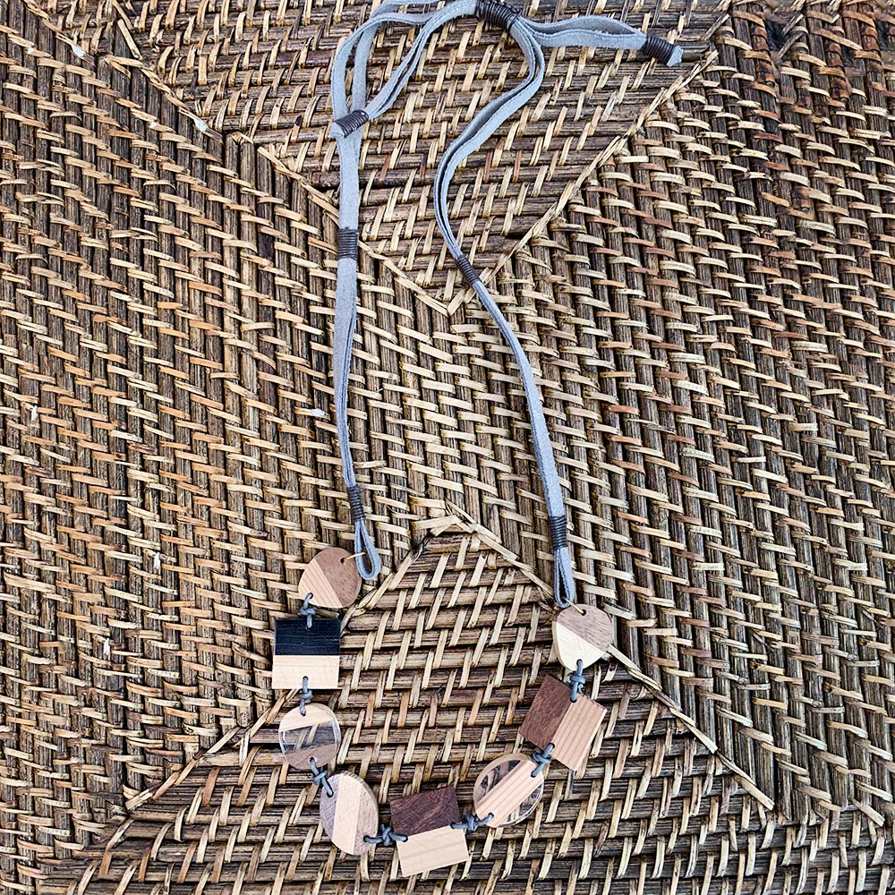 adjustable wood and acrylic on gray cord necklace