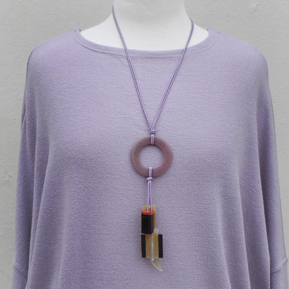 lavender acrylic ring mod necklace