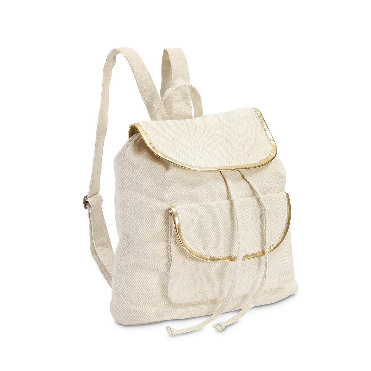 durry backpack natural, gold trim