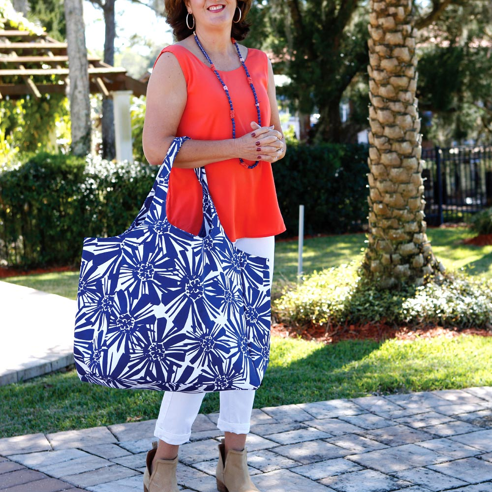 mosaic floral navy big shot bag
