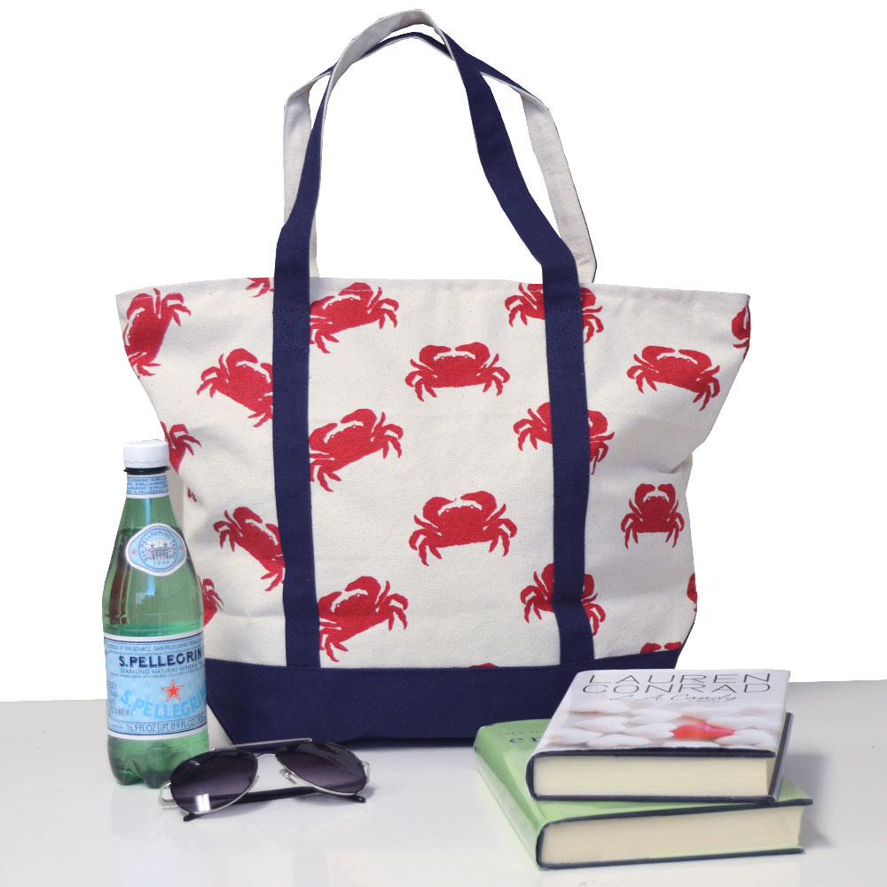 boat tote with crab