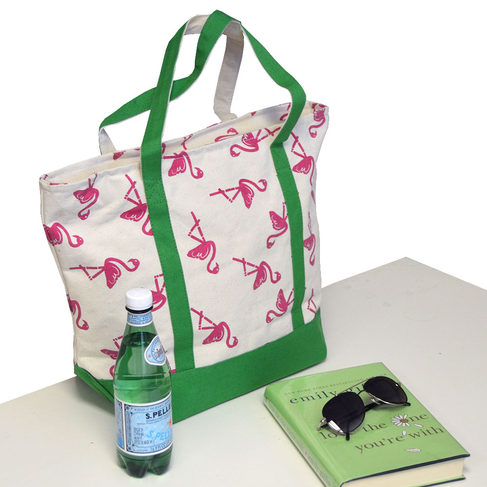 boat tote with flamingo