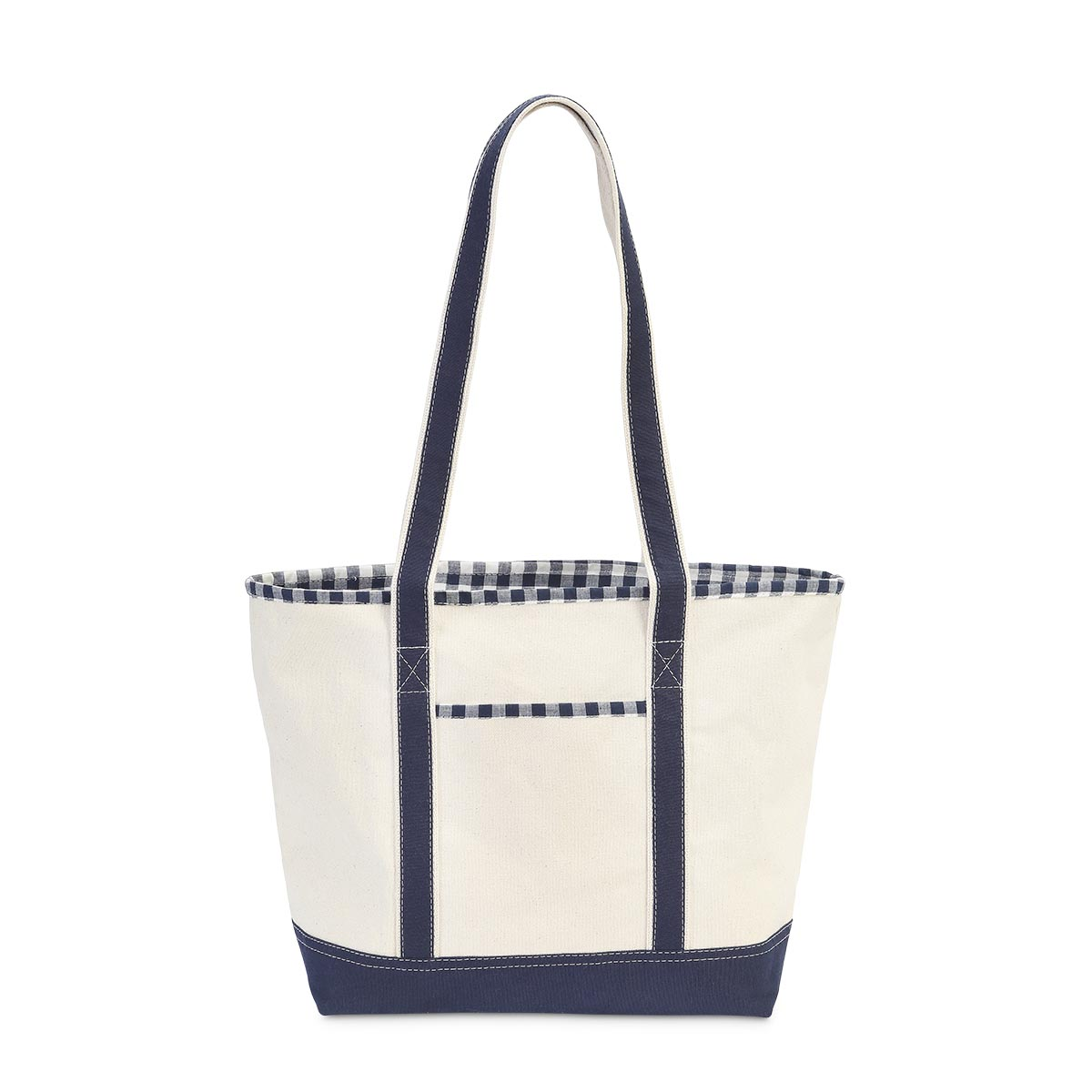 medium boat bag, navy gingham