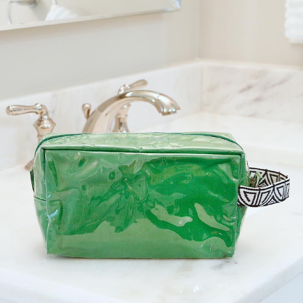 green cosmetic zipper bag