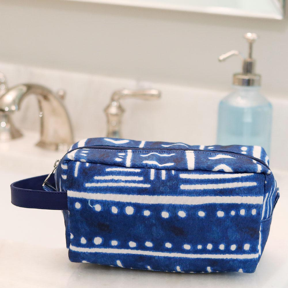 indigo daze cosmetic zipper bag