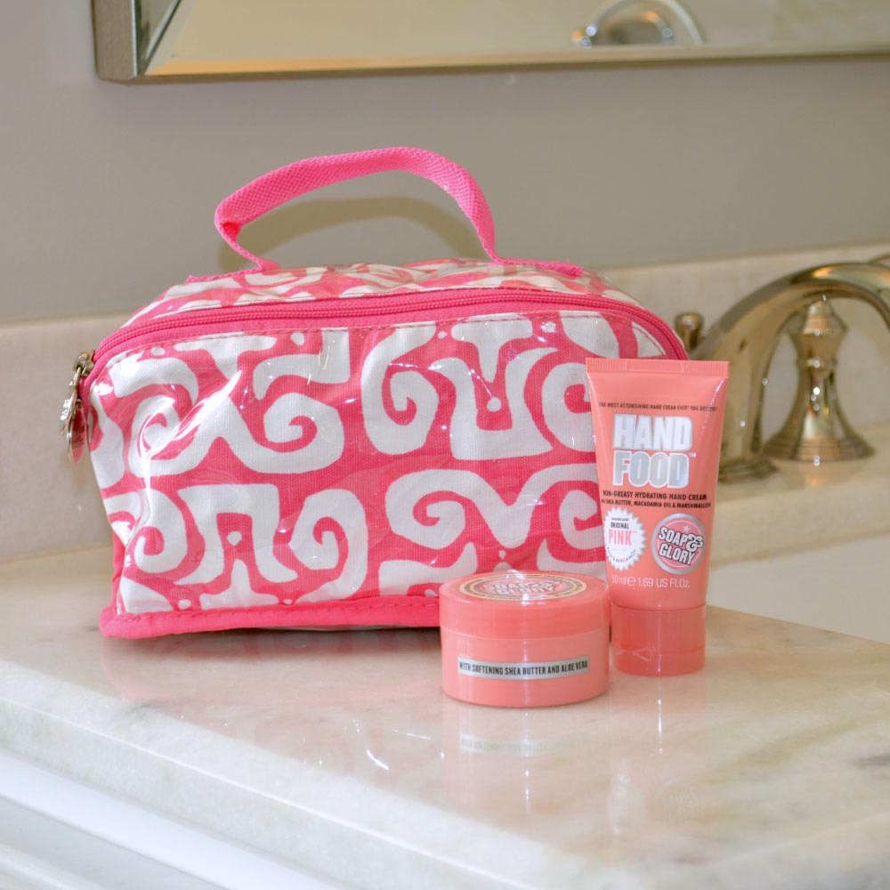 don't fret pink counter cosmetic bag
