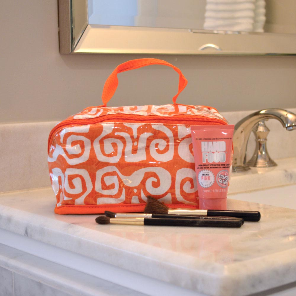 don't fret orange counter cosmetic bag