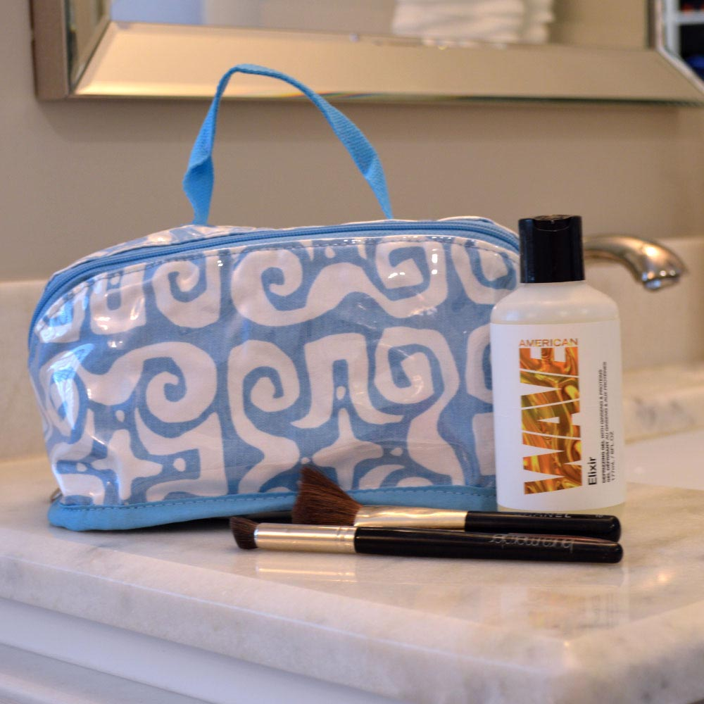 don't fret light blue counter cosmetic bag