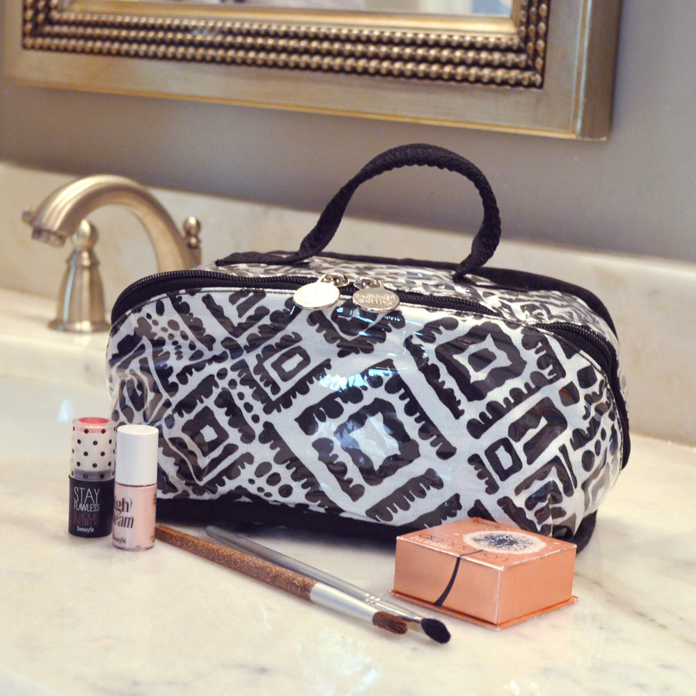 alma black and white counter cosmetic bag