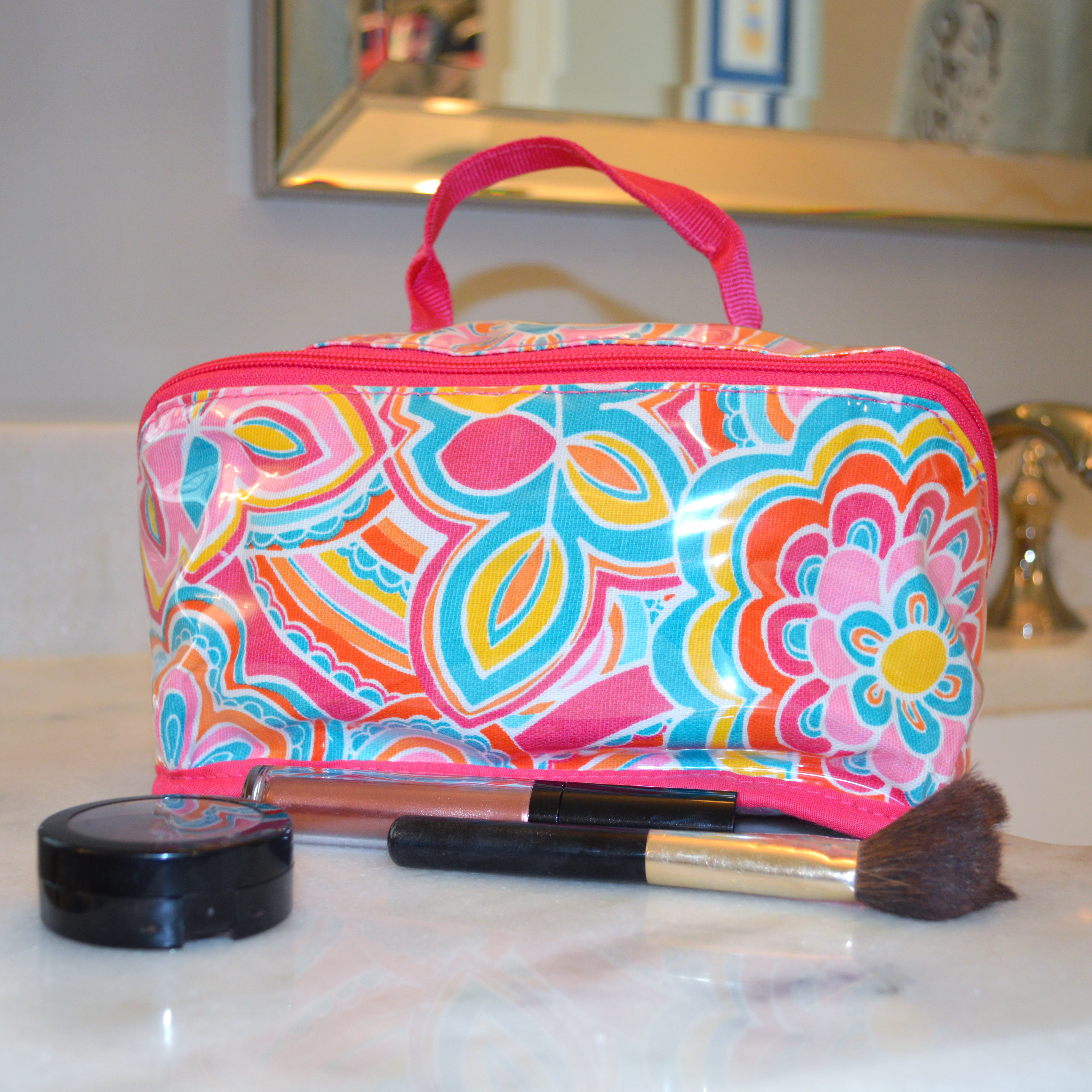 flower power counter cosmetic bag