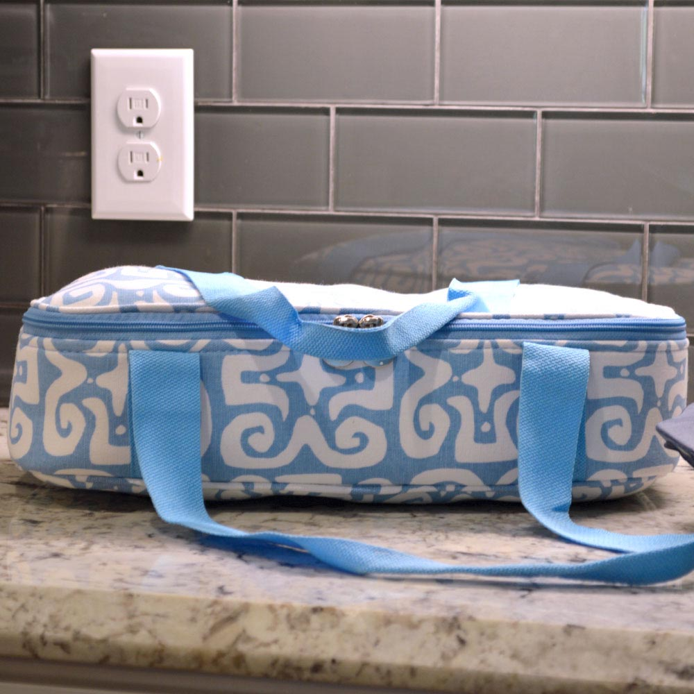 don't fret light blue canvas casserole carrier