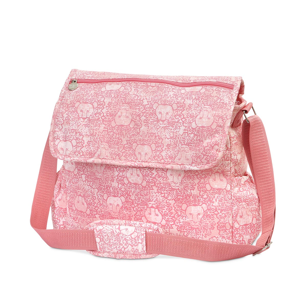 lion around pink diaper bag
