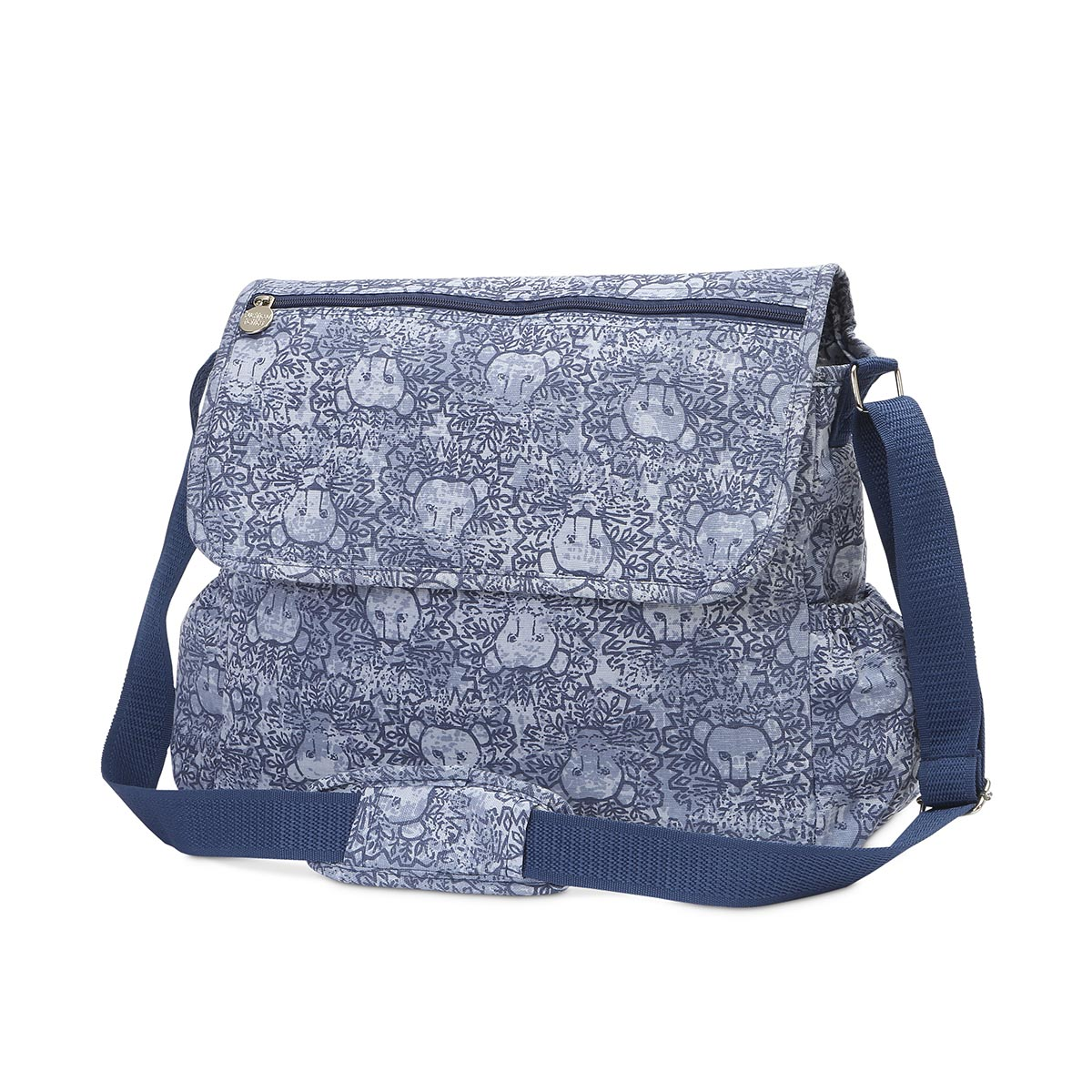 lion around blue diaper bag