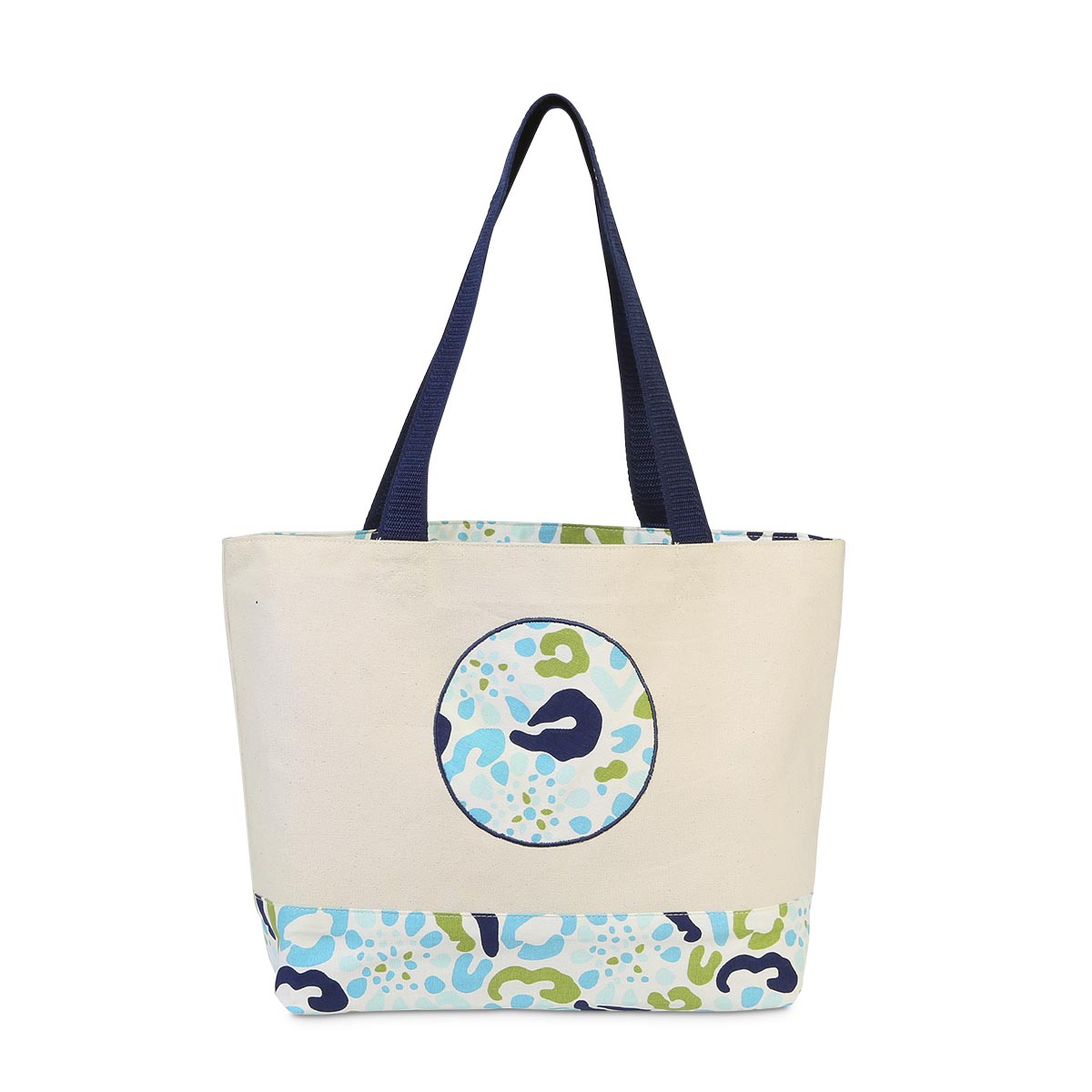 cha cha cheetah circle applique tote