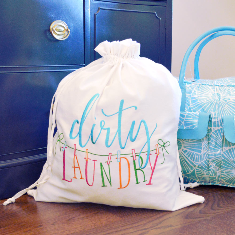 cotton embroidered dirty laundry bag