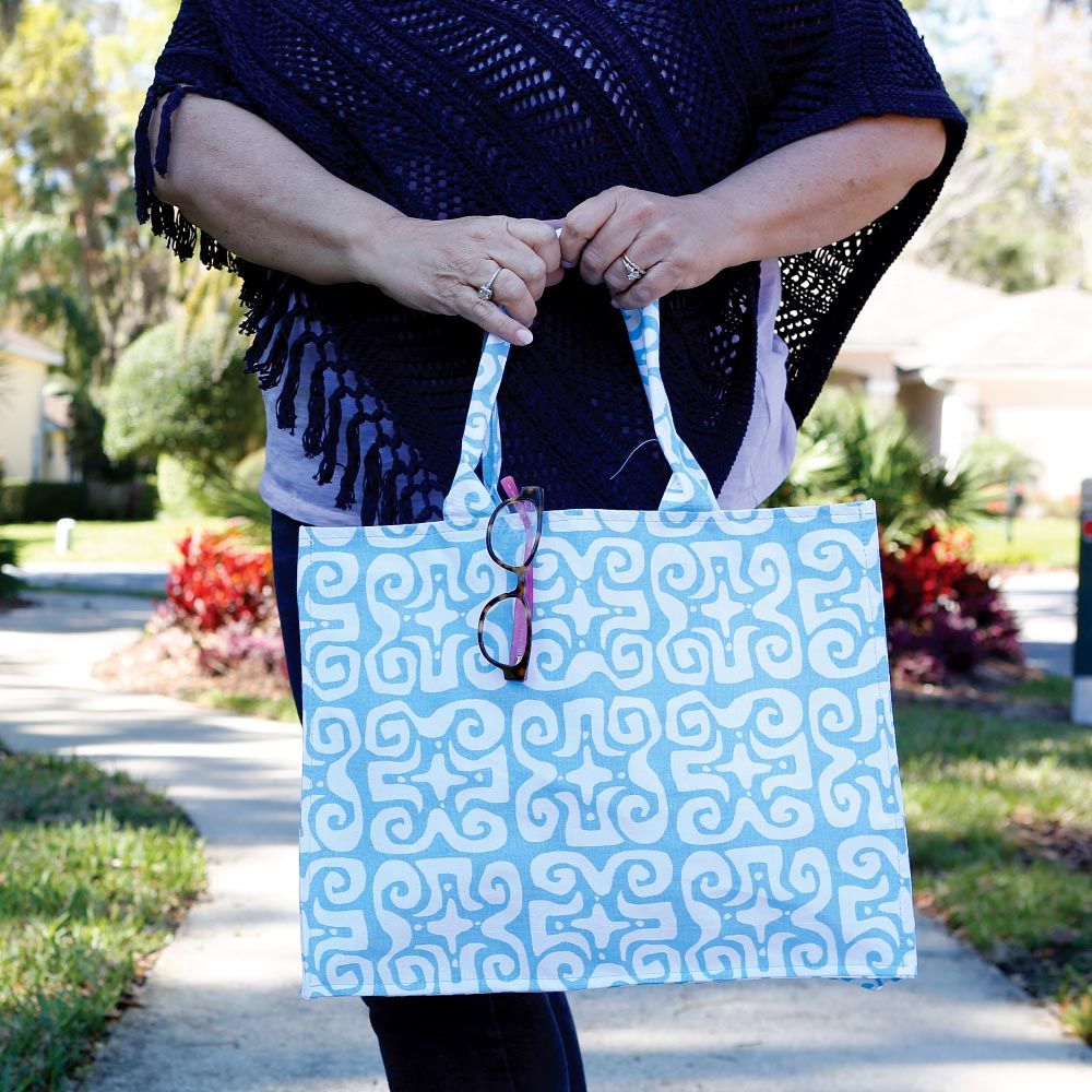 don't fret light blue canvas tote