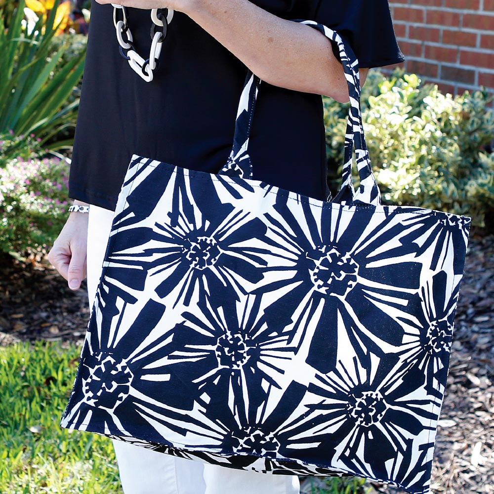 mosaic floral black canvas tote