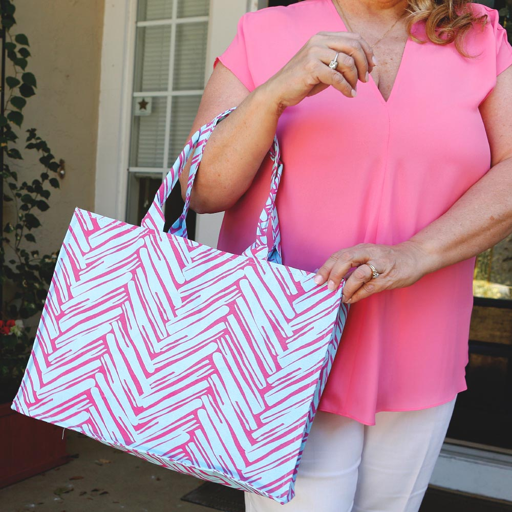 twill do pink/turq canvas tote