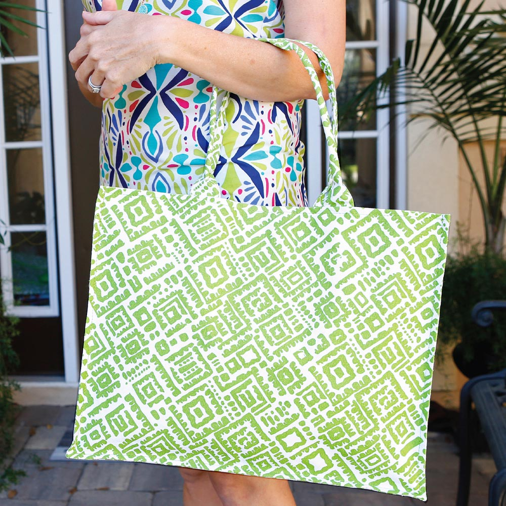 alma lime green canvas tote