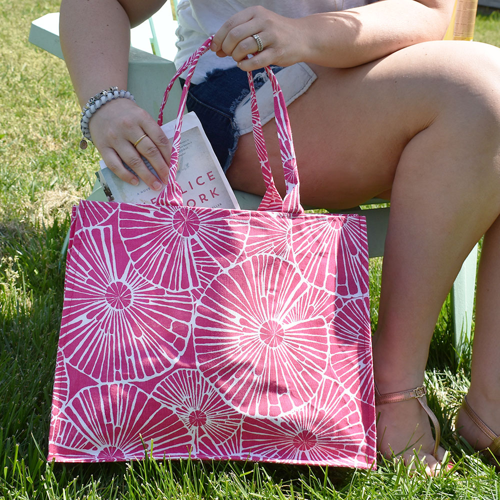 full circle pink canvas tote
