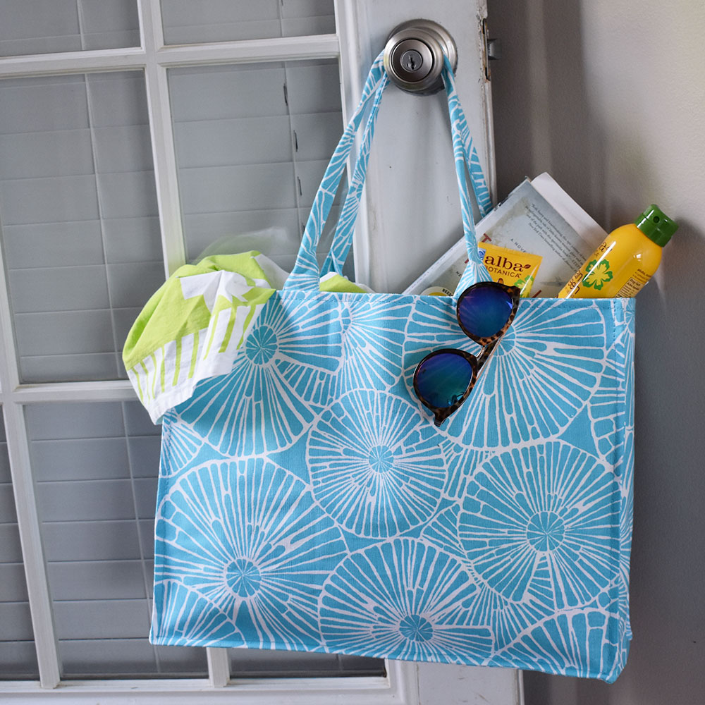 full circle turquoise canvas tote
