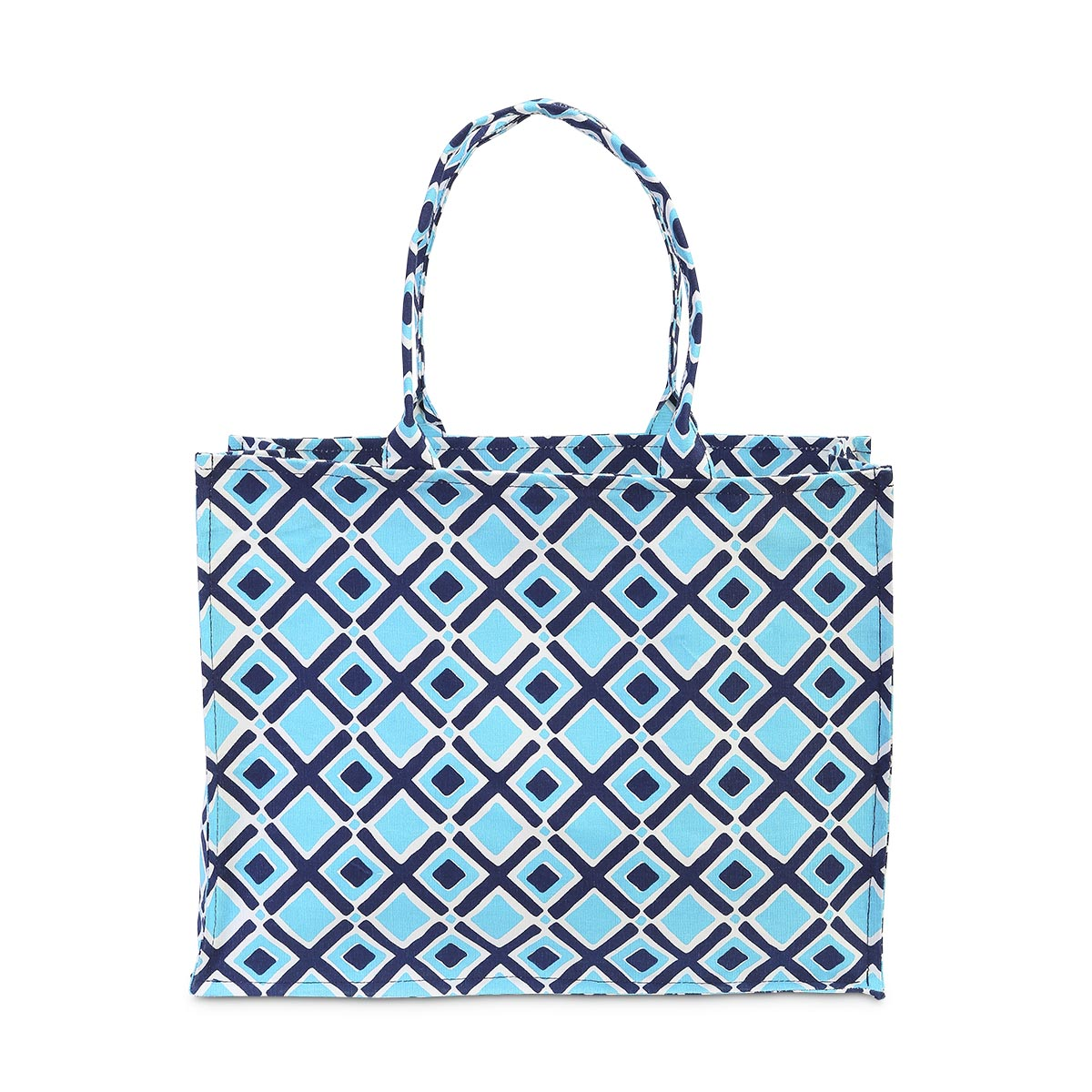 times square navy/turq canvas tote