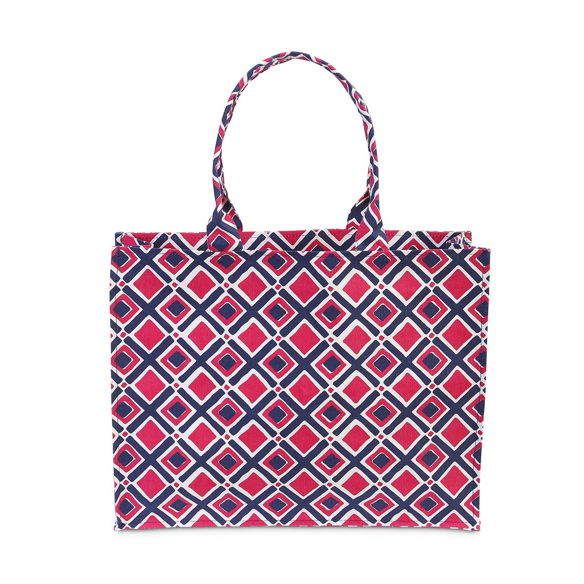 times square navy/pink canvas tote