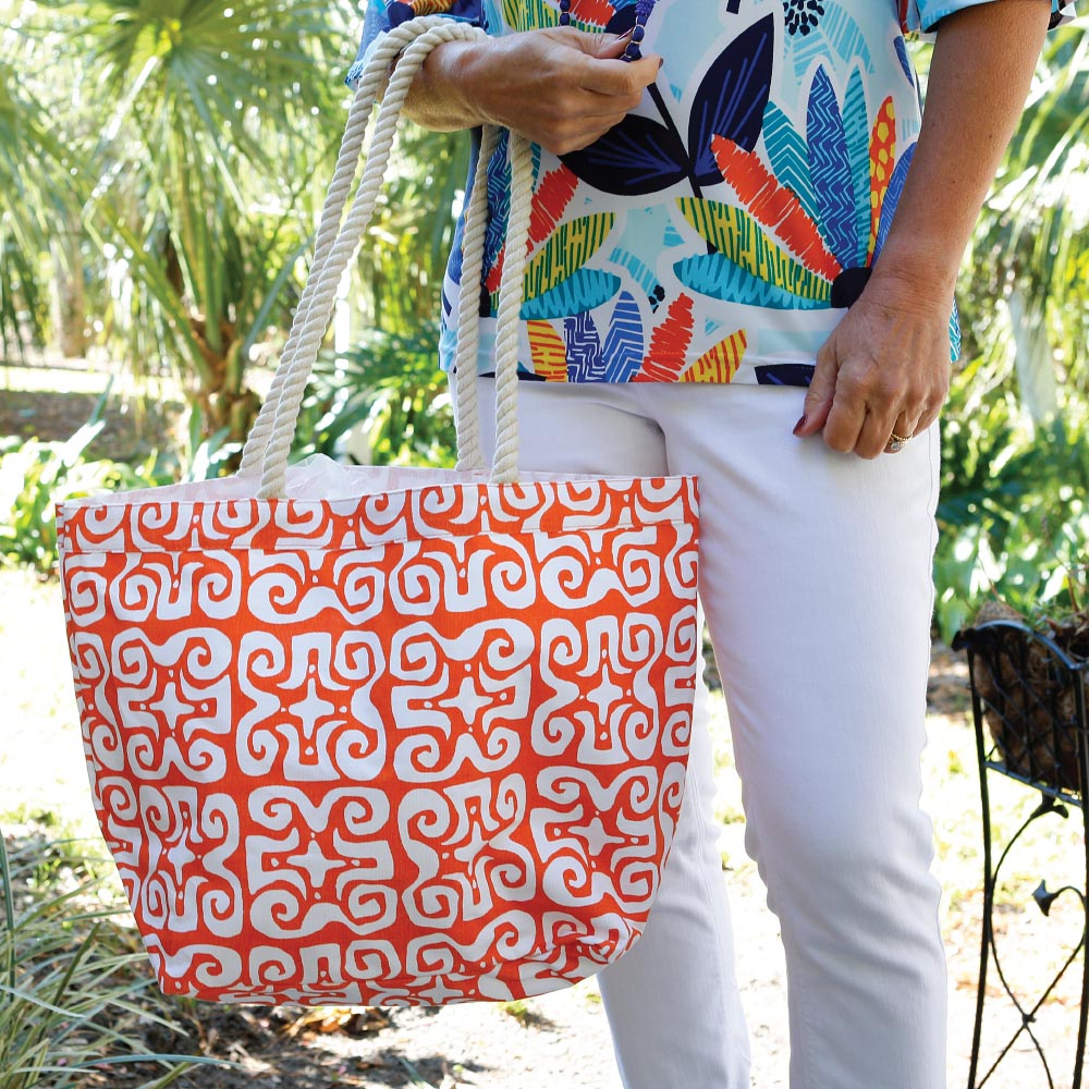 don't fret orange canvas tote with rope  handle