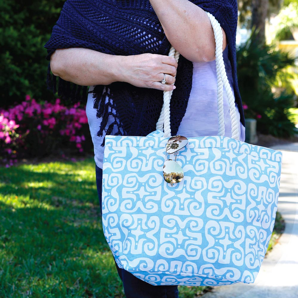 don't fret light blue canvas tote with rope  handle