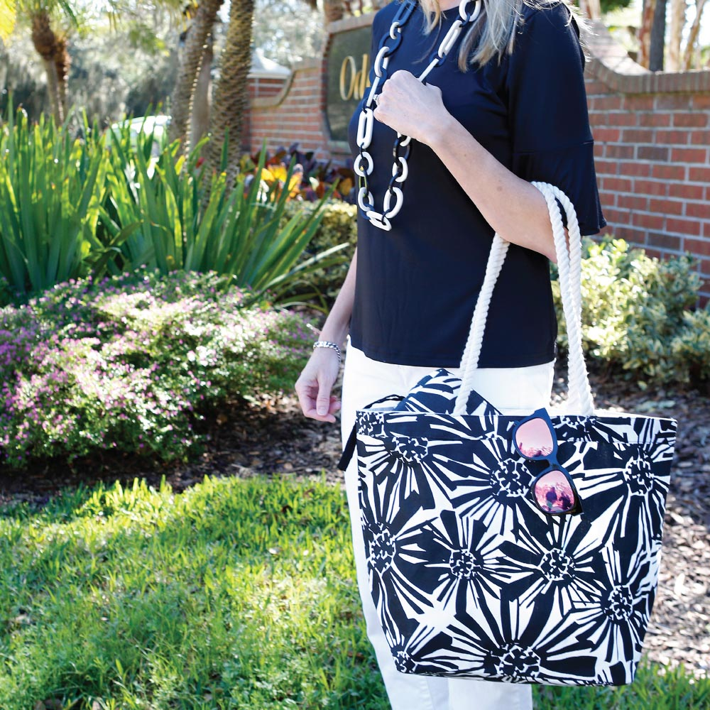 mosaic floral black canvas tote w/rope