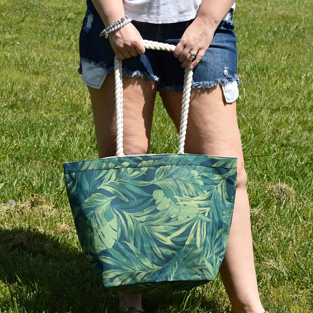 fern canvas tote with rope handle