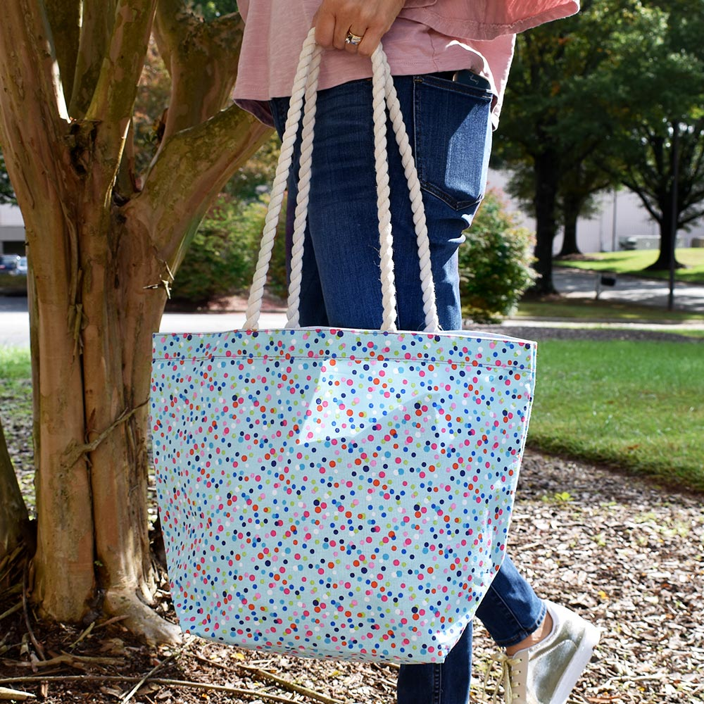 bettie confetti canvas tote with rope handle