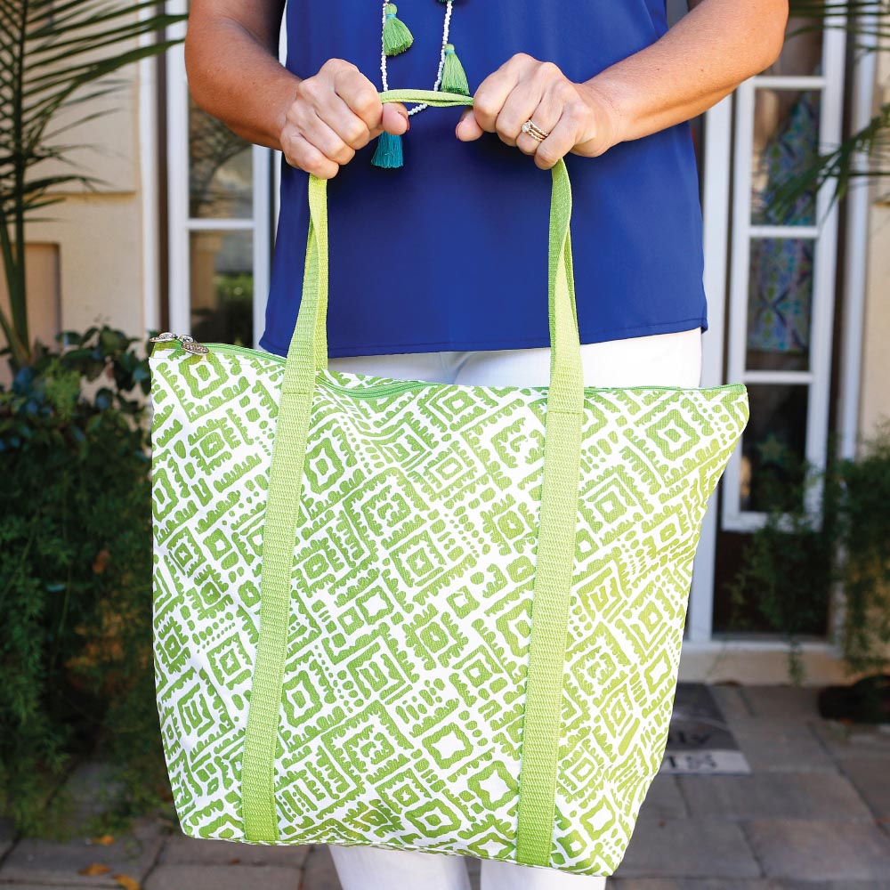 alma lime green canvas tote w/zipper