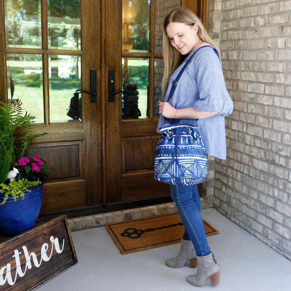 indigo daze bucket bag