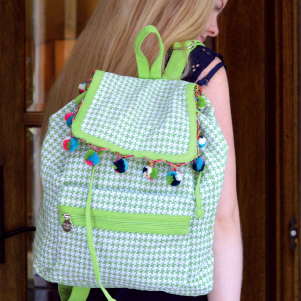 durry green houndstooth backpack
