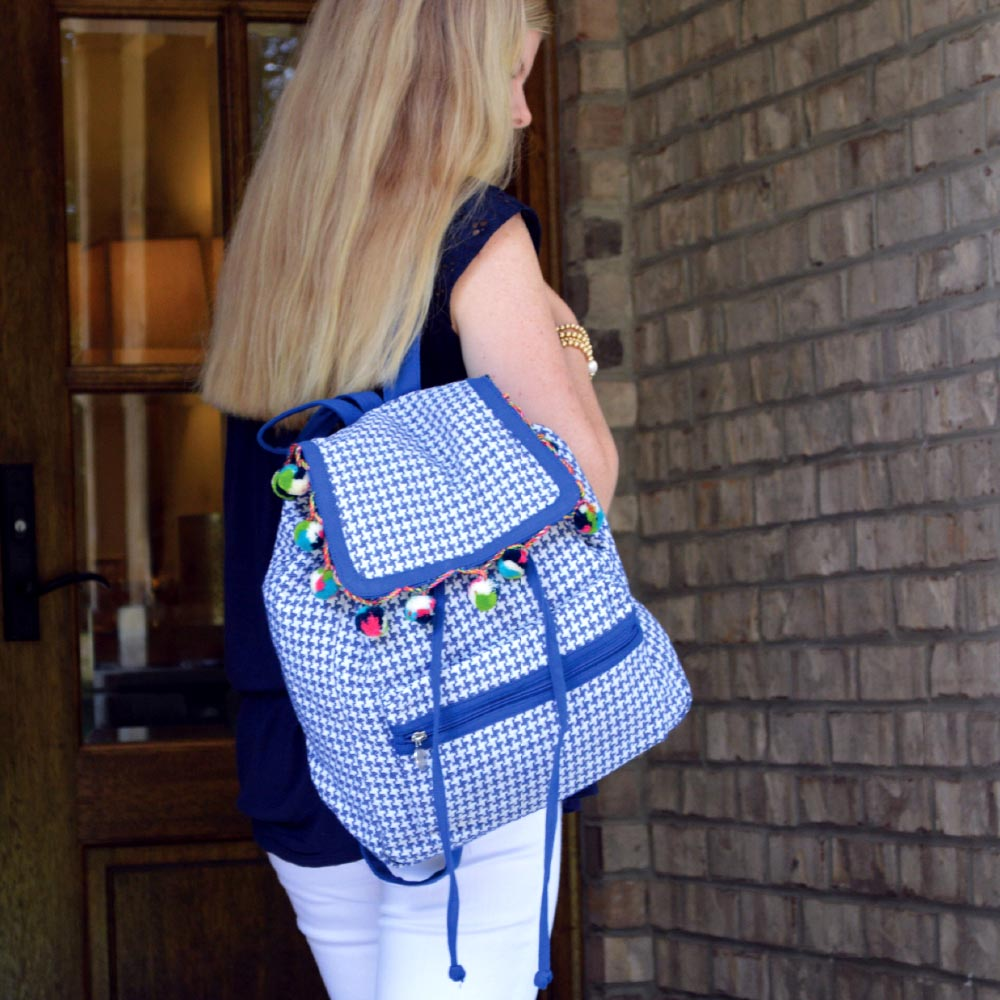 durry blue houndstooth backpack