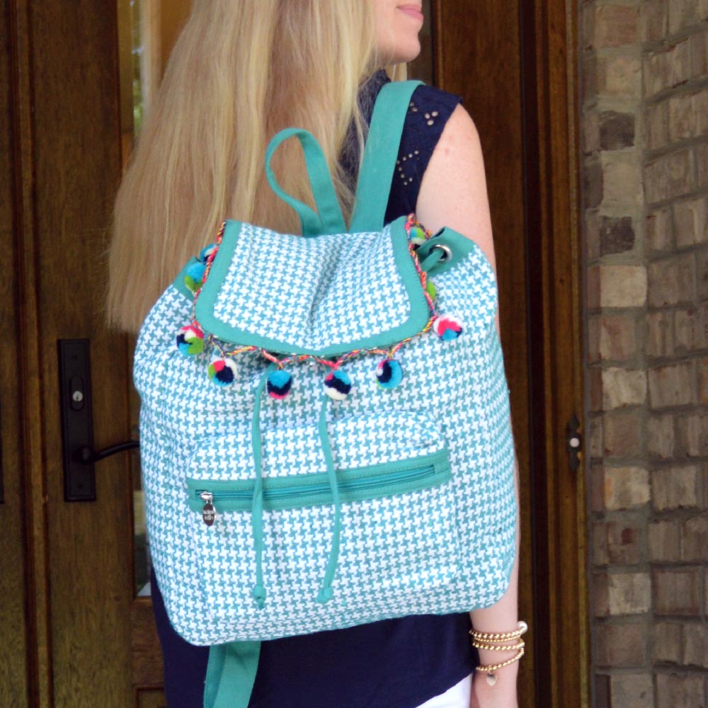 durry teal houndstooth backpack