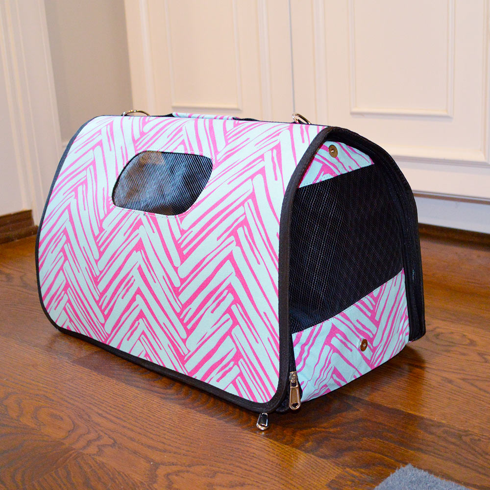 twill do pink/turq pet carrier